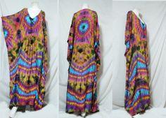 vtg HIPPIE BOHO thai handmade full rainbow tie dye kimono kaftan maxi dress 772 #Unbranded #Maxi #Casual