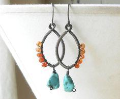 Wire Wrapped Beaded Gemstone Earrings Sterling Silver