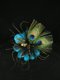 Blue Peacock Feather Hair Accessory