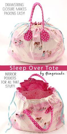 Sewing Pattern to make this cute drawstring bag.  Big enough for sleeping bag and PJs- perfect for a sleepover.  Also great for weekend trips for kids.  Love the handles!  By Virginia Lindsay of Gingercake Patterns