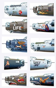 Illustrations showing examples of Nose Art Nose Art, Ww2 Aircraft, Military Aircraft, Aircraft Carrier, Air Fighter, Fighter Jets, Military Art, Military History, Old Planes