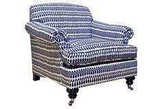 Joplin Ikat Chair, White/Cobalt | Bedroom Assortment Page | One Kings Lane