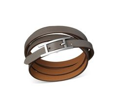 Hermes grey leather wrap bracelet