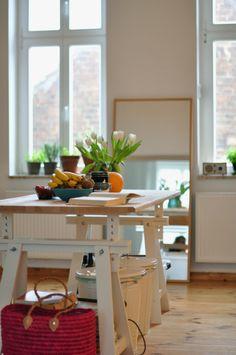 ikea trestle table as kitchen island