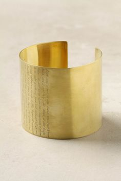Luoyang Cuff by Jeanine Payer: Inscribed with words from Lao Tzu. Made of polished brass. $275 #Bracelet #Curr #Jewelry #Jeanine_Payer