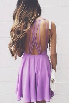 Lavender strappy dress.