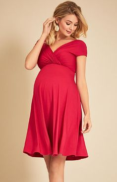 Alessandra Maternity Dress Short Bright Rose - Maternity Wedding Dresses, Evening Wear and Party Clothes by Tiffany Rose UK