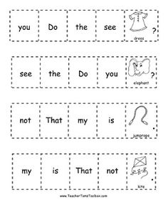 Cut-and-Glue Sight Word Sentences for Kindergarten AND Fir 1st Grade Writing, First Grade Reading, Reading Time, Kids Reading, Kindergarten Language Arts, Kindergarten Literacy, Literacy Centers, Sight Word Sentences, Sight Words
