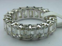 Emerald Cut Diamond Eternity Wedding Anniversary Ring