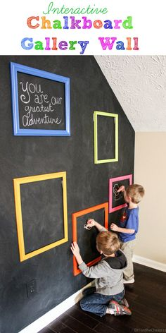"Thrift store frames + a chalkboard wall = a fun interactive art ""gallery"" where your kids can create their own masterpieces!"