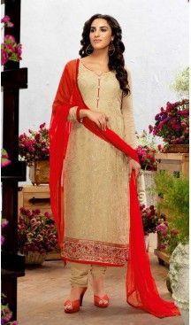 Georgette Fabric Evening Wear Straight Cut Dresses in Beige Color | FH523579304 #pakistani , #evening , #dress , #heenastyle , #party , #wear , #anarkali , #salwar , #kameez , #dupatta , #churidar , #suit , #fashion , #online , #shopping , #casual , #designer , @heenastyle , #store, #shop , #boutique , #straight , #georgette , #fabric