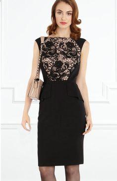Morpheus Boutique  - Black Lace Hollow Out Sleeveless Celebrity Ruffle Trendy Pencil Dress