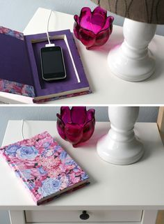 'Book It' Cell Phone Charging Station | Click Pic for 18 DIY Dorm Room Ideas for Girls | Dorm Room Decorating Ideas for Girls