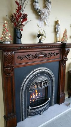 The Windsor is a Victorian style gas insert designed to fit into very small fireplaces like those found in historic homes. Vintage Fireplace, Victorian Fireplace, Small Fireplace, Fireplace Mantle, Fireplace Surrounds, Fireplace Design, Fireplace Ideas, Victorian Interiors, Victorian Decor