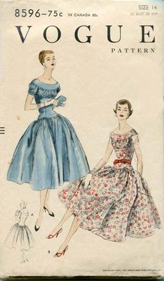 Vogue 8596, ©1955; Sz 14/Bust 32.  Note:  sleeve pattern piece is torn - can easily be placed back together; and the insert pattern piece has been shortened, but the piece cut off of the insert is present and could easily be taped back together.
