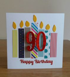 Easy birthday card with paper off cuts. Flames are 'leftovers' from Stampin Up Number of Years '8'.