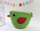 Bird Pouch / Crocheted little bag / Cosmetic purse /  Fresh Green / everyday use