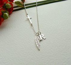 Personalized Angel Wing Necklace Sideways Cross by SaraAndJane