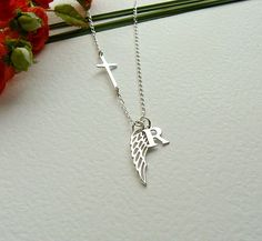 Personalized Angel Wing Necklace Sideways Cross by SaraAndJane