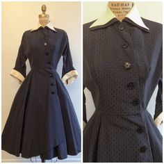 1950s Collar Cuff Coat Dress 50s Navy Blue Dress Faille by CreatedAndCollected on Etsy https://www.etsy.com/listing/261350904/1950s-collar-cuff-coat-dress-50s-navy
