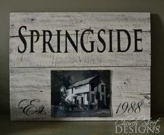 Wooden Hand Painted Sign with glass covered photo - Church Street Designs
