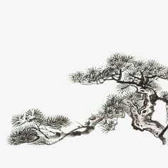 Japanese Painting, Sumi E Painting, Chinese Painting, Pine Tree Painting, Bamboo Art, Watercolor Trees, Watercolor Paintings, Bonsai Art, Bright Colors Art