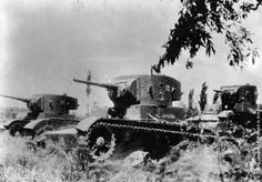 Three T-26 light tanks made in the Soviet Union travel through a field during a battle in Spain, during the Spanish Civil War. (Photo by Hulton Archive/Getty Images). Circa 1936