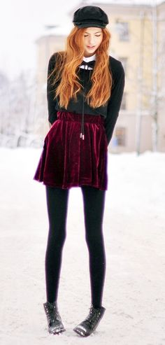 Maroon velvet skirt + emerald top