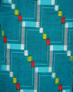 Vintage Kimono Wool  Bright Geometric on Turquoise by banglezBeadz, $13.00
