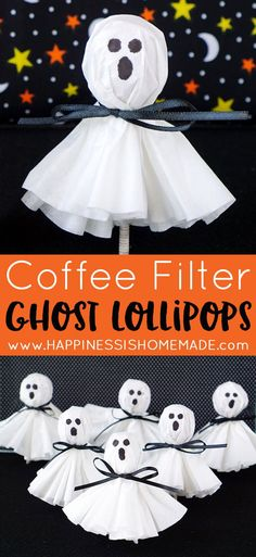 Easy Halloween Craft: These coffee filter ghost lollipops are a cute and easy twist on classic kleenex tissue ghosts. A nostalgic and fun Halloween treat that's sure to be a big hit with kids of all ages! Diy Halloween Party, Halloween Treats For Kids, Halloween Goodies, Holidays Halloween, Toddler Halloween Crafts, Halloween Classroom Decorations, Halloween Candy Crafts, Halloween Activities For Kids, Halloween Ghosts