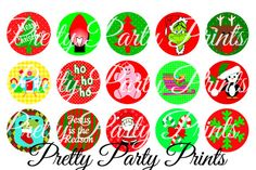 Instant Download Christmas Assortment 1 inch Round Circles for