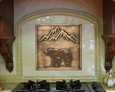 Check out our fireplace tile selection for the very best in unique or custom, handmade pieces from our home & living shops. Kitchen Decals, Hand Painted Wallpaper, Wall Waterproofing, Copper Kitchen Decor, Wall Tiles, Tile Decals, Kitchen Decor Etsy, Fireplace Tile, Copper Wall Art