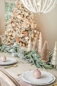 Your Christmas color palette can be anything your heart desires! Glean inspiration for decorating your Christmas Rose Gold Christmas Decorations, Christmas Table Settings, Christmas Tablescapes, Christmas Colors, Xmas Decorations, Christmas Candles, Merry Christmas, Magical Christmas, Scandinavian Christmas