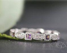 Única banda 14K blanco oro Moissanite anillo de