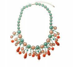 Bright Mix Circular and Tear Drop Collar Necklace
