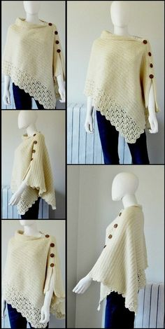 beautiful crochet poncho - All Hair Styles Crochet Shawl Free, Crochet Poncho Patterns, Crochet Shawls And Wraps, Shawl Patterns, Knit Or Crochet, Crochet Scarves, Crochet Clothes, Knitted Poncho, Knitting Scarves