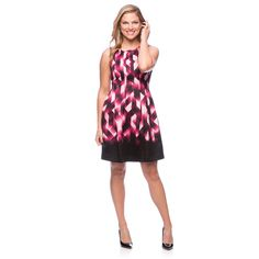 Vince Camuto Women's Black and Pink Geometric Print Fit-and-Flare Dress - Overstock™ Shopping - Top Rated Vince Camuto Casual Dresses