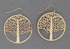 Simply Whispers jewelry pierced earrings gold French hook tree circle drop