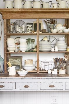 Such a perfect chippy paint weathered wood farmhouse display