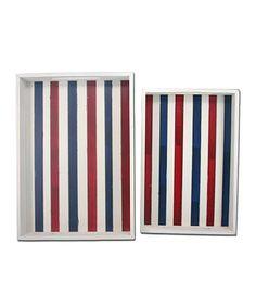 Red & Blue Stripe Wood Serving Tray Set #zulily #zulilyfinds