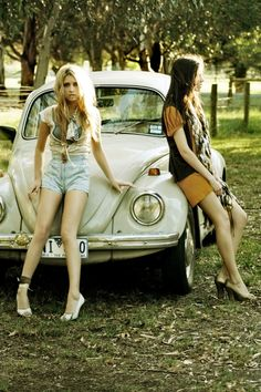 Girls and their bugs. Vintage fashion, vintage cars.  (Pinned by http://www.4autoinsurancequote.com - Insurance For Women, By Women)