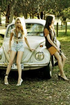 women cars fashion roads volkswagen two girls volkswagen beetle fashion photography girls with car Art HD Wallpaper