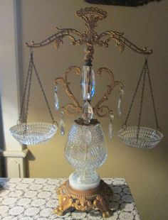 Vintage Glass Scale of Justice -Crystal prisms and Marble 1967
