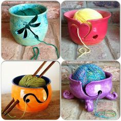 A variety of yarn bowls. Ceramics Projects, Clay Projects, Clay Crafts, Pottery Bowls, Ceramic Pottery, Keramik Design, Crochet Gratis, Learn Crochet, Diy Crochet