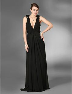 Sheath/ Column V-neck Floor-length Chiffon Evening Dress - USD $ 129.99
