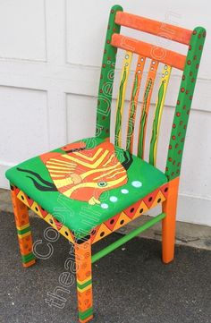 The Funky Furniture Shed Whimsical Painted Furniture, Hand Painted Chairs, Painted Stools, Hand Painted Furniture, Art Furniture, Funky Furniture, Colorful Furniture, Furniture Projects, Furniture Design