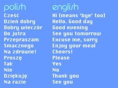 polish phrases- Some of the foreign delegates coming to the Int'l Convention are from Poland. Polish Words, Polish Sayings, Polish Alphabet, Learn Polish, World Youth Day, Enjoy Your Meal, Polish Language, Thinking Day, Polish Recipes