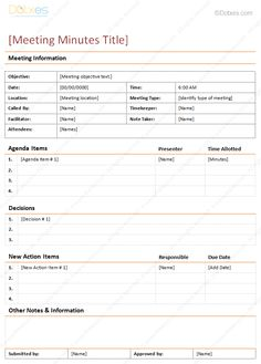 Meeting minutes template in descriptive format