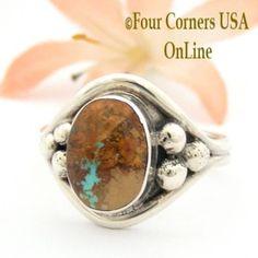 Size 12 Boulder Ribbon Turquoise Ring Navajo Artisan Bobby Piaso Native American Jewelry NAR-09505 Four Corners USA OnLine