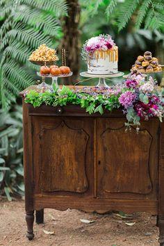 Wedding dessert display on vintage dresser 25th Wedding Anniversary, Anniversary Parties, Anniversary Flowers, Anniversary Ideas, Cake Table, Dessert Table, Wedding Props, Wedding Decorations, Wedding Rings Vintage